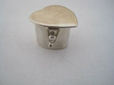 Rare Antique Sterling Silver Heart Shape Pill Box With Locking Clasp