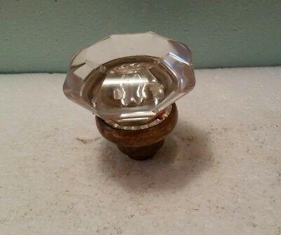 Vintage Glass Door Knob With Brass Finish Base (01Gdc)