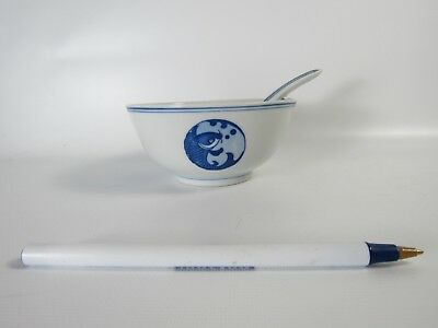 Chinese Blue  White Fish Pattern  Porcelain Rice bowl and Matching Spoon