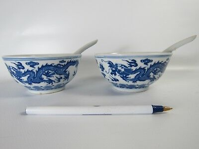 Pair of Chinese Blue White Dragon Porcelain Rice bowls and Matching Spoons
