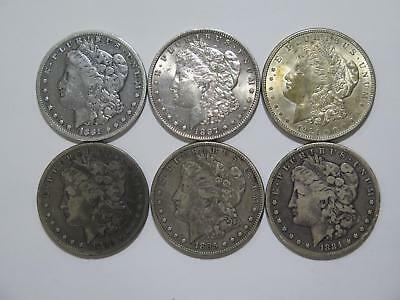 6- Morgan Dollars $1 90% Junk Silver Toned U.s. Mint Old Coin Collection Lot