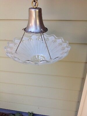 Vintage Ceiling Light Fixture  3 Hole Chain Pressed Glass Chandelier