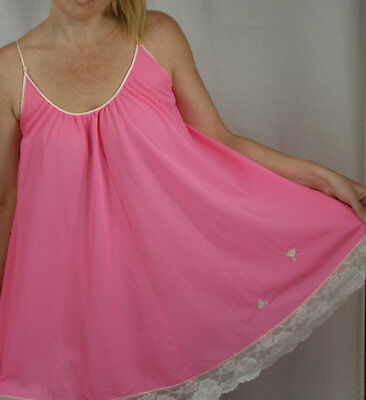 Vtg Pink CLAIRE SANDRA by LUCIE ANN Baby Doll Nightie Nightgown Negligee Petite