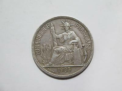 French Indo China 1905 A Piastre Crown Type Silver World Coin Collection Lot