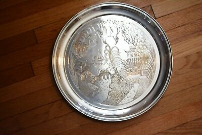 Antique Silver-plate Etched Chinese Town Design Platter Made in England