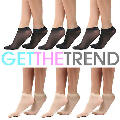 3/6 Ladies 20 DENIER Sheer Ankle High Trouser Pop Socks UK ONE Size 4-7 UK