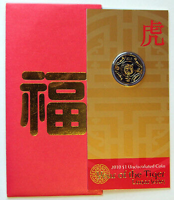 2010 Australia - Lunar Series - Year of the Tiger - $1 Coin on card of issue