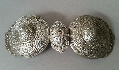 Antique Ottoman Hand-forged silver alloy+silver filigree center belt buckle XIXc