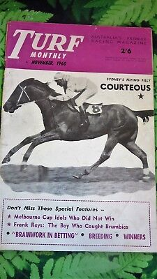 Turf Monthly Magazine November 1960 - Melbourne Cup; Shadow King; Wakeful etc.