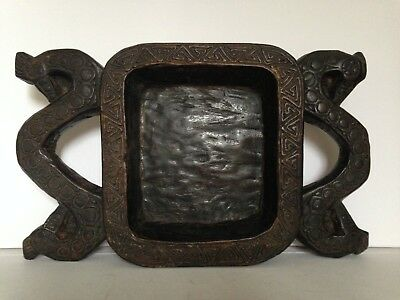Old tribal Indonesian carved wood large tray, plate bowl atributed origin Lombok