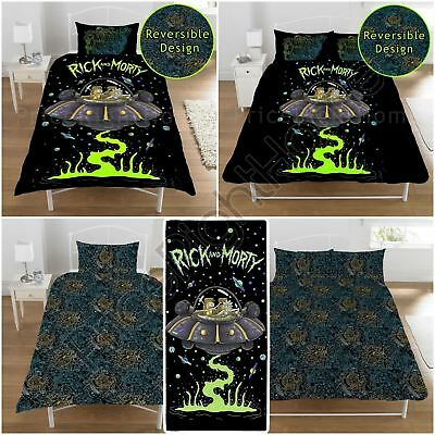 Rick And Morty Duvet Cover Set Kids Bedding Single & Double, Matching Towel
