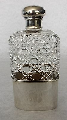 Sterling silver hip flask 1891 with rare  crystal Russian cut, low start!