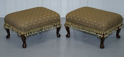 Matching Pair Of Vintage Upholstered Footstools With Cabriolet Legs Nice Pair