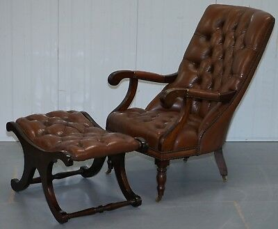 Vintage Aged Brown Leather Chesterfield Library Reading Armchair & Footstool