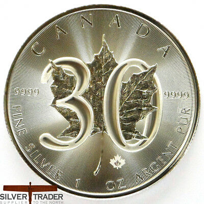 2018 Canadian 30th Anniversary Maple Leaf 1oz Silver Bullion Coin unc: