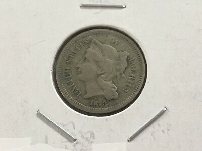 1873 US three cent piece (Nickel).. Rare coin. 144 years old.