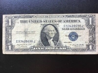 "1935 US $1.00 ""Silver Certificate. ""G"" Series."