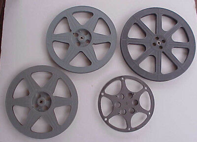 "16mm Reels 10.5"", 13.75"", 15"" Metal/Plastic 700' to 2000' Lot of 4/Wall Art/Déco"