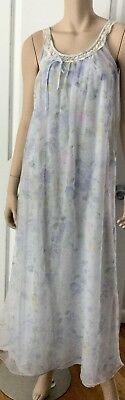 Vintage Miss Elaine Floral Nightgown Double Layer Chiffon Lace Trim Sm/Med