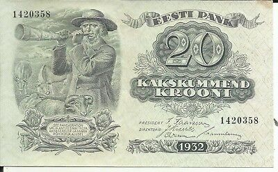 Estonia 20 Krooni 1932  P 64.. Unc Condition . 6Rw 13Feb