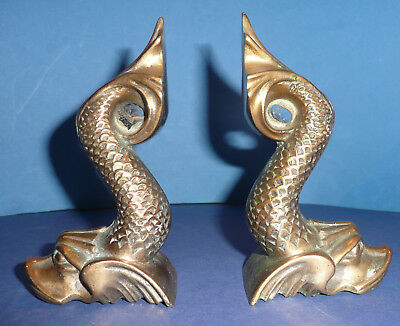 Pair Of Old Bronze/brass Mythical Dolphins