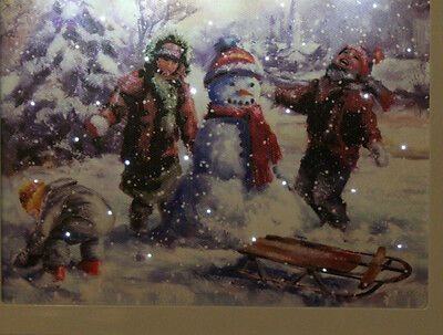XMAS BACKLIT LED Framed SNOW SCENE CANVAS CHRISTMAS DECORATION PICTURE w timer