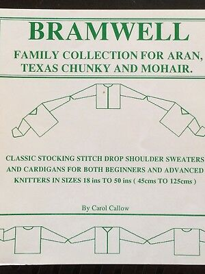 Machine knitting book: Bramwell Family collection for Aran, Chunky, Mohair yarns