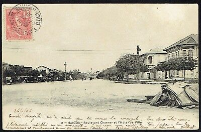 1908 PPC Boulevard Charner Saigon to Tarbes France 10c Indochine Francaise red