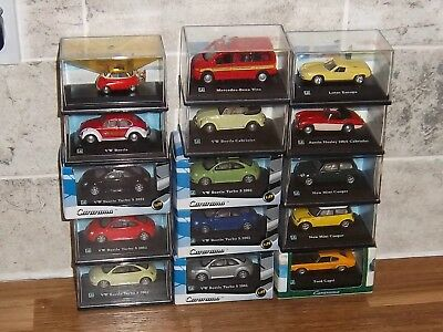 Cararama 1:72 scale model cars in perspex display case selection