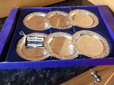Queen Anne Silver Plated Tableware Boxed Set Of 6 Vintage Coasters
