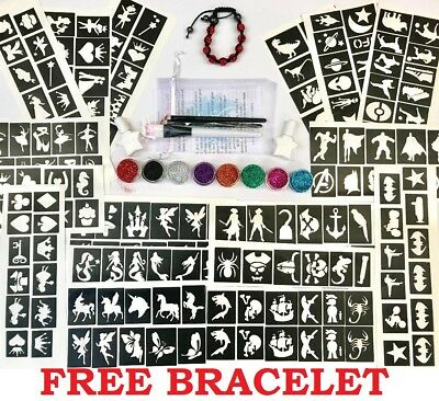 GLITTER TATTOO KIT 216 stencil  superhero princess boy girl pirate unicorn fairy