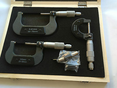 Good Quality 3 Pc External Adjustable Metric Micrometer Carbide Anvils Tool Set