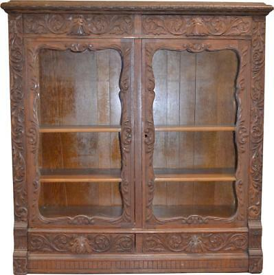 18232 Antique Oak Heavy Carved Two Door Four Drawer Bookcase – Paine Quality