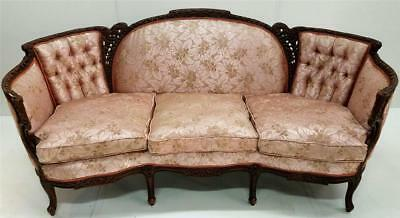 19536  Antique French Victorian Shapely Carved Sofa