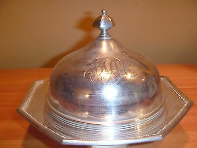 antique silver plate round butter dish with glass liner