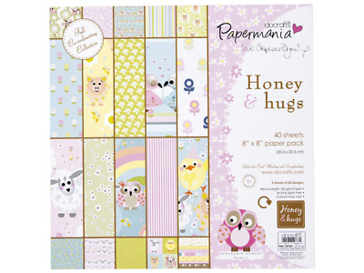 Papermania 8x8 paper pack 160gsm - honey & hugs by stephanie dyment (40pk)