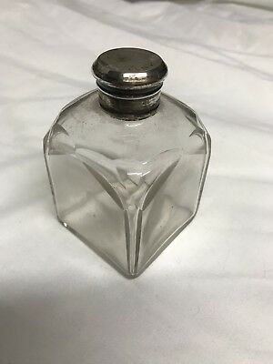 Antique CuT GLASS & SOLID SILVER VANITY / SCENT BOTTLE  With Stopper