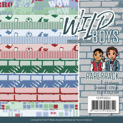 Paperpack - 15,2 x 15,2cm - Yvonne Creations - Wild Boys – 170gr -