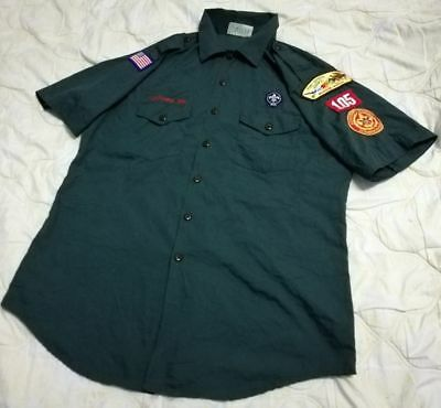Vintage Venturing Boy Scouts of America BSA Adult Uniform Shirt N27 Green Sz LG