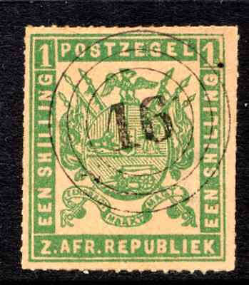 Transvaal   1/-  Green Rouletted  Fine Used