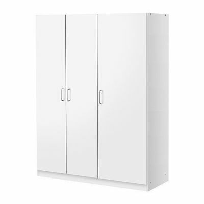 Ikea DOMBAS Large Size 3 Door Wardrobe,White,140x181cm,Adjustable Shelves Hinges