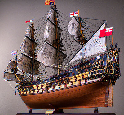 "HMS PRINCE 45"" wood model ship large scale sailing tall British boat"