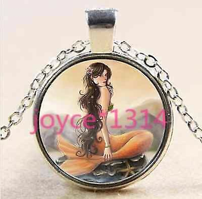 LUSH RAVEN HAIR MERMAID SILVER NEW STUNNING  MYSTICAL glass necklace pendant