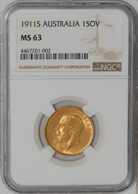 1911S Australia Sovereign #4467201-002 MS63 NGC