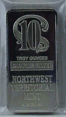 1 - NORTHWEST TERRITORIAL MINT Vintage 10 Troy Silver ounces Bar .999