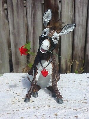 "Breyer Model Custom Donkey ""Mocha"" with halter and rose"