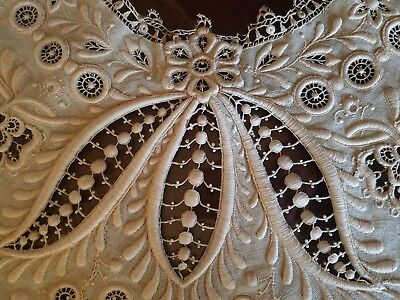 WOW! antique heavily Embroidered Birtha collar trim lace vintage
