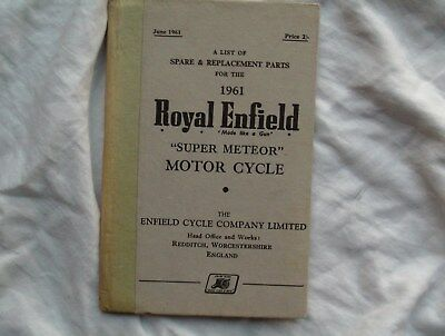 royal enfield,super meteor,spare and replacement parts book 1961.