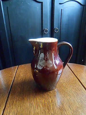 Antique Earthenware Jug `bourne` Denby Ware. Brown Glazed. Built In Strainer