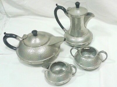 Pewter Tea Set Craftsman Sheffield Arts And Crafts Hammered  Style 4 Pieces